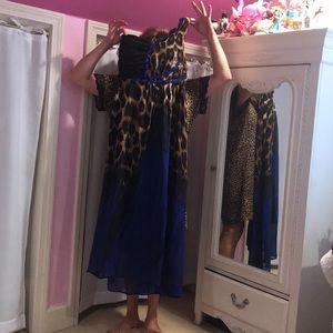 NWT LEOPARD ONE SHOULDER DRESS SIZE XL MAXI DRESS